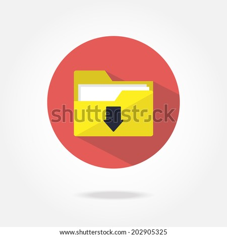 Flat download icon. - stock vector
