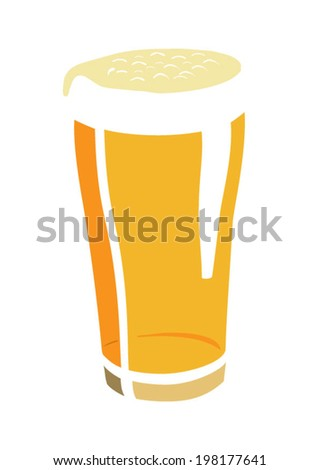 Flat drawing of beer glass - stock vector