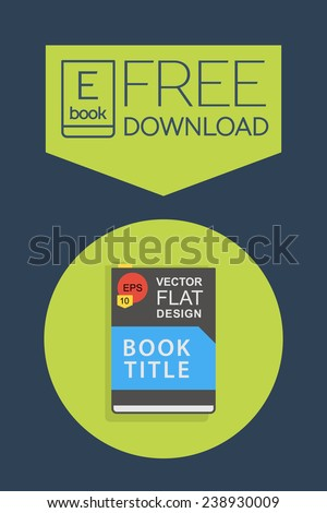 Flat E-book free download icon. Vector button - stock vector