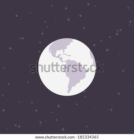Flat Earth. Minimal design. White earth, with purple space background. Abstract planet color.   Earth icon, with stars backdrop. Easy to edit. Vector illustration - EPS10. - stock vector