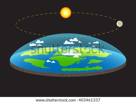 Flat Earth / Old Vision of Planet and solar system / Earth like dish/ plate/ in space with sun and moon / realistic vector of Earth /Earth in space,