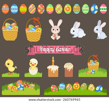 Flat Easter holiday modern style design vector icon set celebration decoration template. Decorative elements objects painted eggs bunny rabbit chicken bread paska. - stock vector