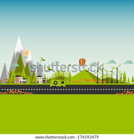 Flat Eco Green City Illustration EPS 10 - stock vector