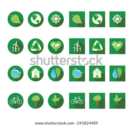 Flat ecologic icons vector set
