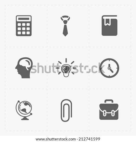 Flat education cons set on White - stock vector