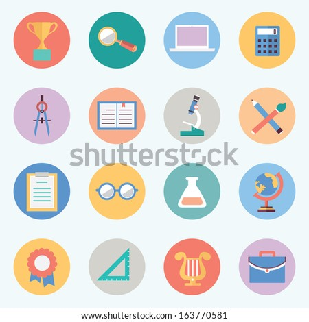 Flat education icons. Science and knowledge - vector icons - stock vector
