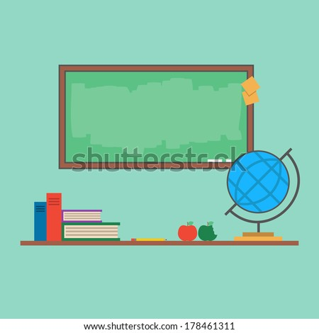 Flat education objects. Blackboard, globe, chalk, book, apple, pencil, table, sticker. Vector illustration. Minimal classroom. Easy to edit. Items for school. Simple design. - stock vector