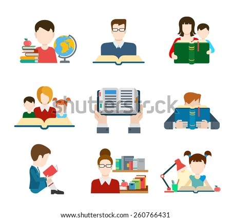 Flat education student pupil kid parent teacher people profile user interface icon set modern web isometric infographic concept vector. Learning study reading teach classes. Creative people collection - stock vector