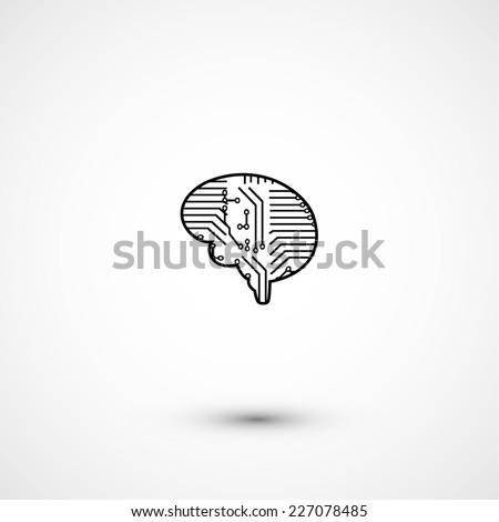 Flat electric circuit brain icon, modern technology - stock vector