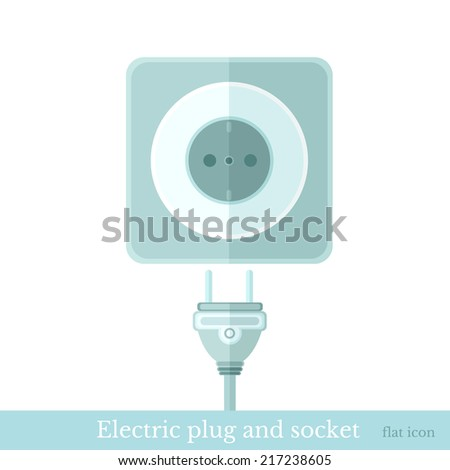 flat electric plug and socket isolated on white - stock vector