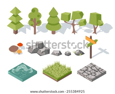 Flat elements of nature. Trees and bushes, rocks and water, grass and mushrooms, landscape design. Vector illustration - stock vector