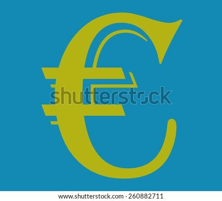 Flat euro icon,Vector illustration,gold illustration. - stock vector