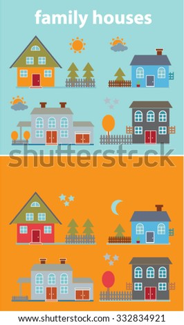 flat family houses icons, illustration set. vector - stock vector
