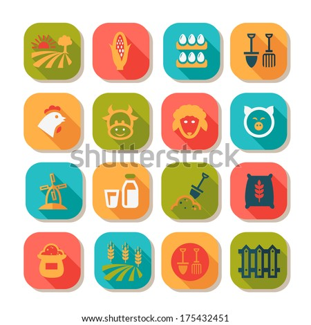 Flat Farm Icon Set for web and mobile. - stock vector