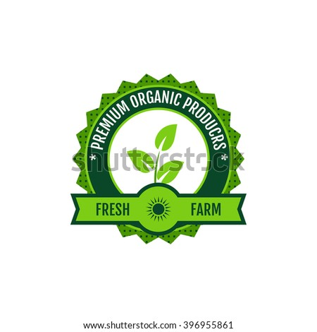 Flat farm logo label and design