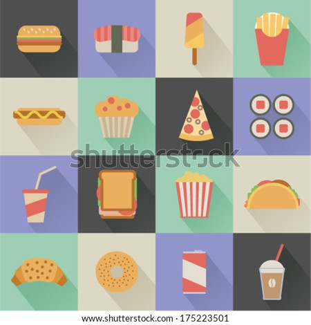flat fast food icons on colorful square background - stock vector