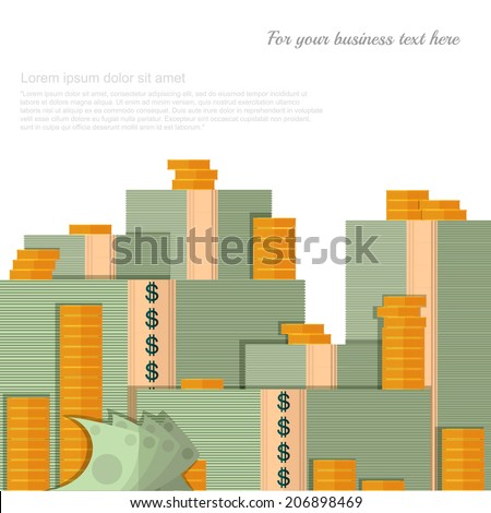 flat finance background with pile of money and coins on white - stock vector