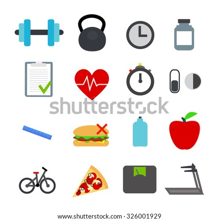Flat fitness icons. Vector - stock vector