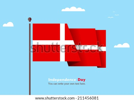 Flat flag against the blue sky. Flat flag fluttering in the wind on a background of clouds. The flat design of the flag on the flagpole. Independence Day. Flag of Denmark - stock vector