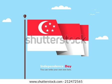 Flat flag against the blue sky. Flat flag fluttering in the wind on a background of clouds. The flat design of the flag on the flagpole. Independence Day. Flag of Singapore - stock vector