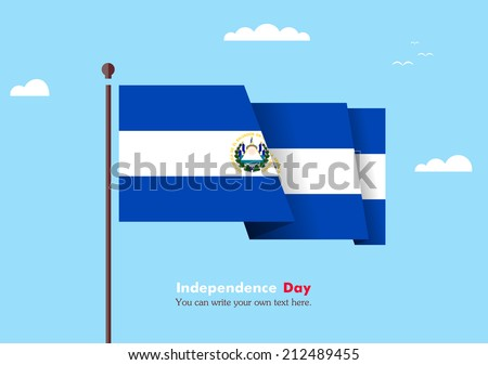 Flat flag against the blue sky. Flat flag fluttering in the wind on a background of clouds. The flat design of the flag on the flagpole. Independence Day. Flag of El Salvador - stock vector