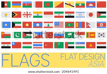 Flat Flags Asia 2014 - stock vector