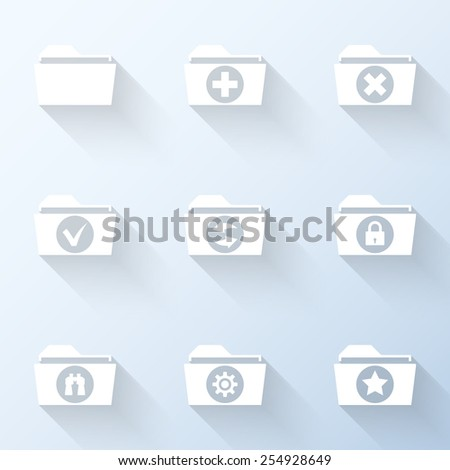 Flat folder icons with long shadows. Vector illustration - stock vector