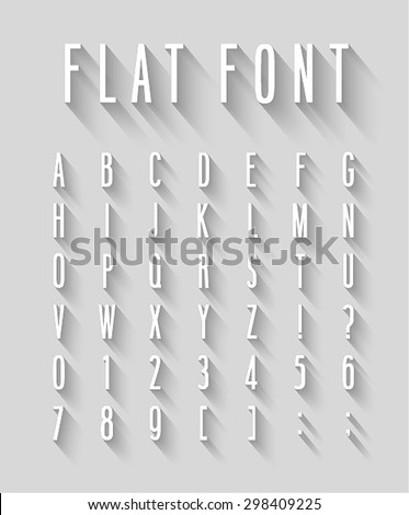 Flat font with long shadow effect. Vector illustration. - stock vector