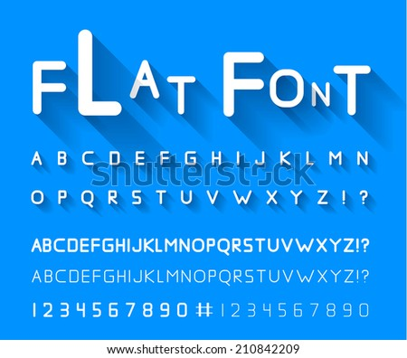 Flat font with long shadow. Vector illustration - stock vector