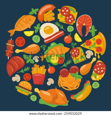 Flat food icons. - stock vector