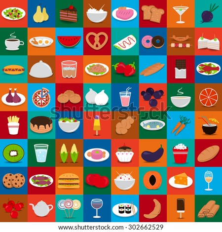 Flat Food Set: Vector Illustration, Graphic Design. Collection Of Colorful Icons. For Web, Websites, Print, Presentation Templates, Mobile Applications And Promotional Materials   - stock vector