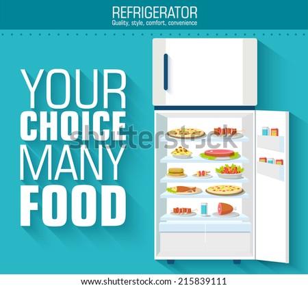 Flat fridge full of many food background concept. Vector illustration design - stock vector