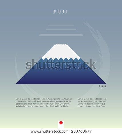 Flat fuji mountain in japan page decoration. vector illustration - stock vector