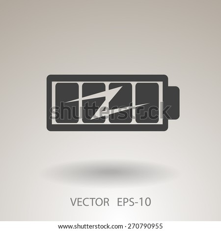Flat full  battery charged  icon - stock vector