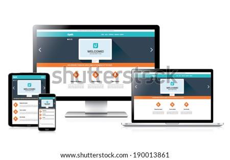 Flat fully responsive website web design in modern vectors - stock vector