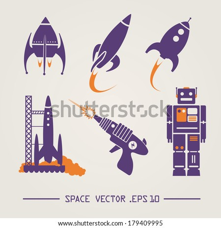 Flat future vintage space designs. Vector - stock vector