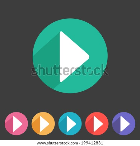Flat game graphics icon play - stock vector