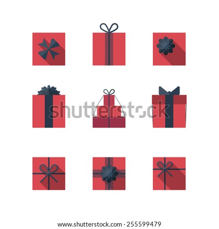 Flat gift box icon set with different bows. Gift wrapping. Gift wrap. Gift package. Flat gift box icon isolated on white background - stock vector