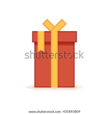 Flat gift box icon. Vector icon - stock vector