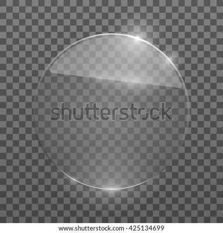Flat glass circle. Glass plate. Isolated on transparent background. Vector illustration, eps10. - stock vector