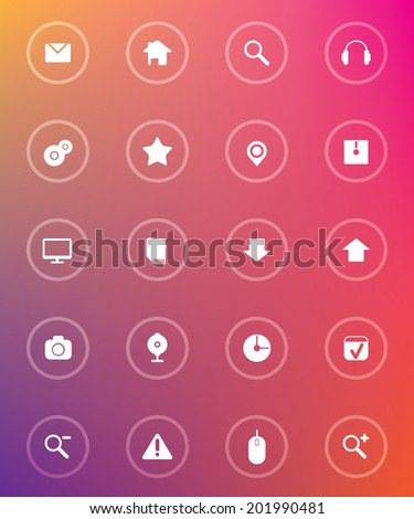 Flat glass web icons - stock vector