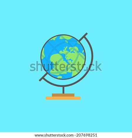 Flat globe. Minimal Earth, on simple background. Education flat element, for flyer, brochure, card, poster. Easy to edit. Vector illustration - EPS10. - stock vector