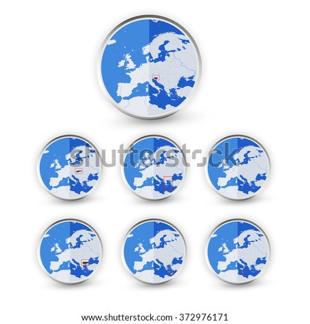Flat Globe set with EU countries World Map Location Part 4. All elements are separated in editable layers clearly labeled.