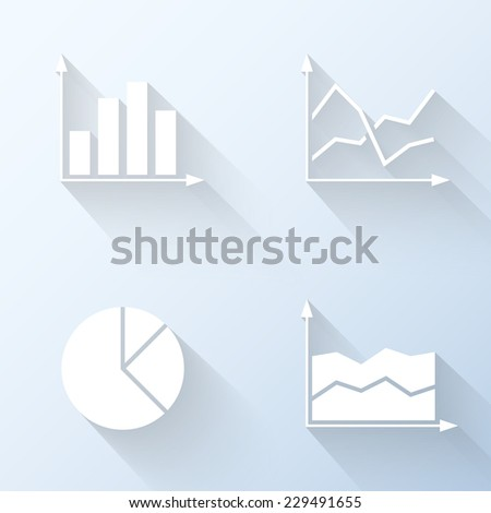 Flat graph icons. Vector illustration - stock vector