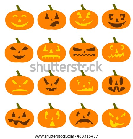 flat graphics on halloween pumpkin icons on halloween pumpkin set pumpkins for halloween