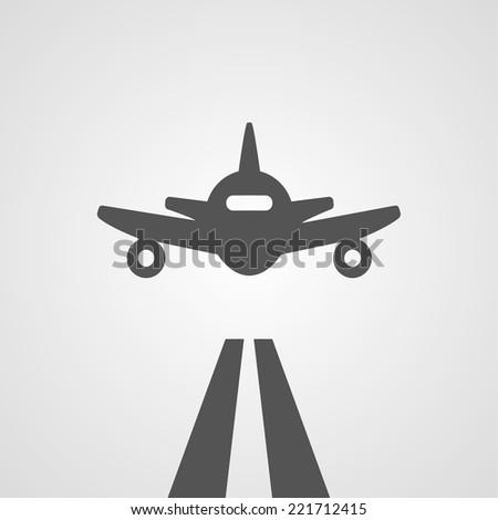 Flat gray landing plane abstract digital illustration - stock vector