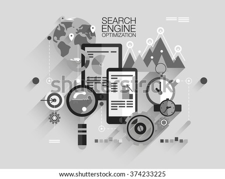 Flat gray web banner template of search engine optimization service, SEO data analytics and keyword process. Modern vector illustration concept for website or infographics - stock vector