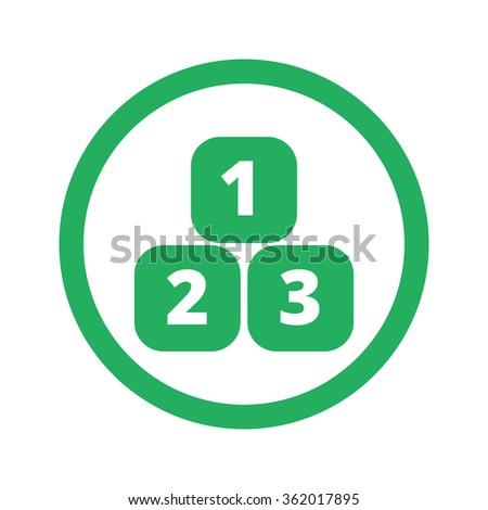 Flat green 123 Blocks icon and green circle - stock vector