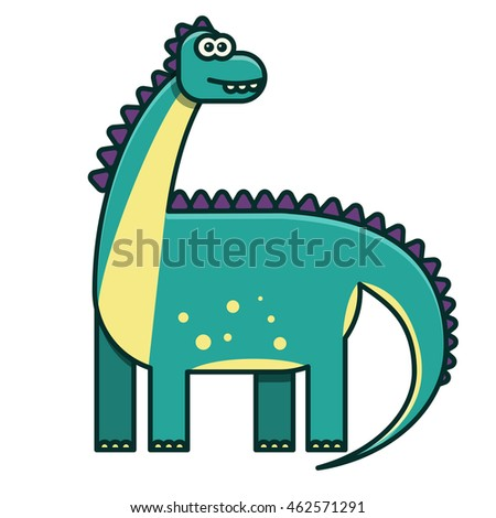 Flat green dinosaur illustration for children's book, diplodocus, line style, cute character