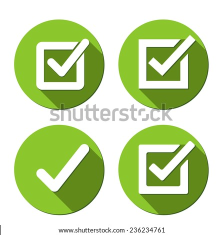 Flat Green Vector Confirm Icon with logn shadow effect - stock vector